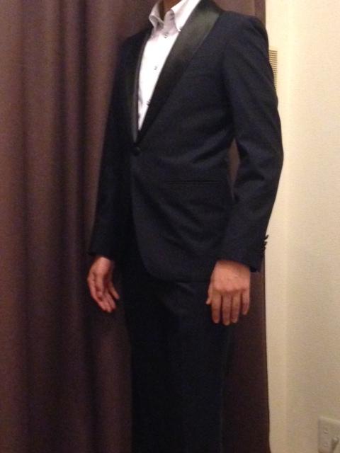 1-1 お客様のタキシードの紹介-ネイビーショールカラータキシード~007 ジェームズボンド~-