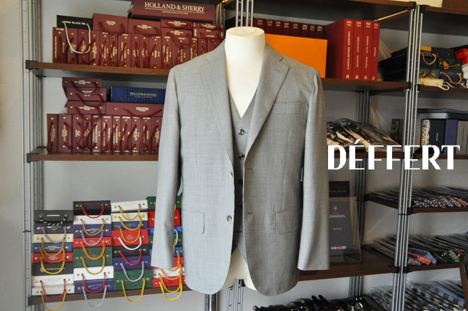 1d748076cdafbb6e413e87082c77ee1c お客様のスーツの紹介-Biellesi グレー千鳥格子スリーピース- 名古屋の完全予約制オーダースーツ専門店DEFFERT