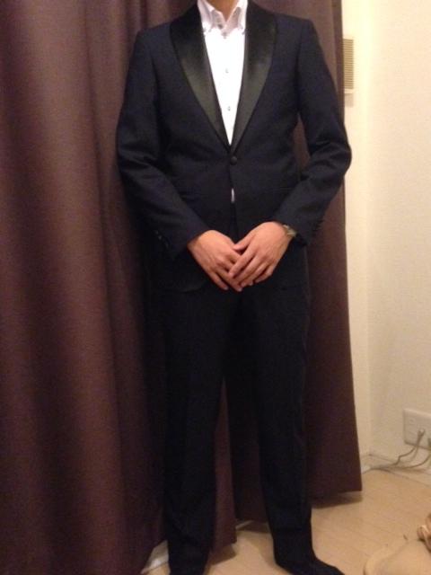 2-1 お客様のタキシードの紹介-ネイビーショールカラータキシード~007 ジェームズボンド~-