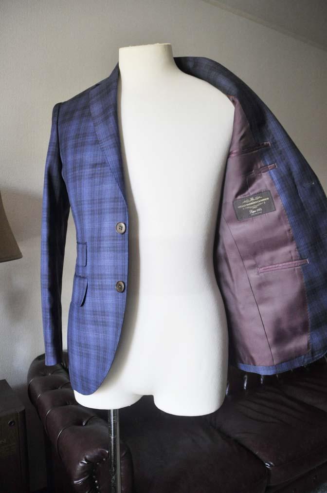 DSC0005-3 お客様のスーツの紹介- Canonico ネイビーチェックスーツ-