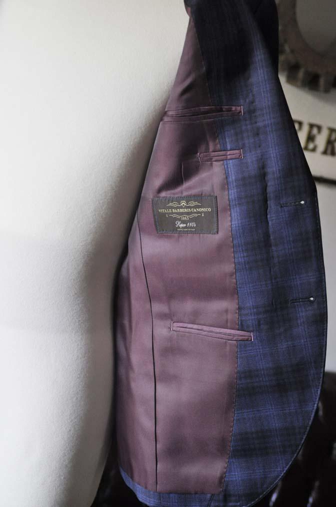 DSC0006-3 お客様のスーツの紹介- Canonico ネイビーチェックスーツ-