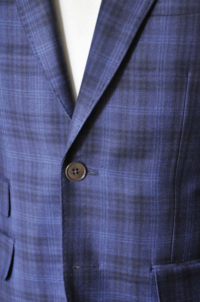 DSC0012-3 お客様のスーツの紹介- Canonico ネイビーチェックスーツ-