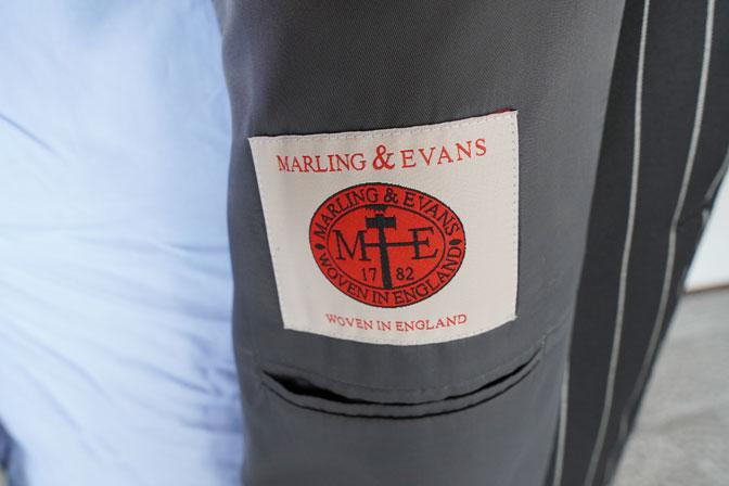 DSC00213 オーダースーツの紹介-MARLING&EVANSブラックストライプダブルスーツ-
