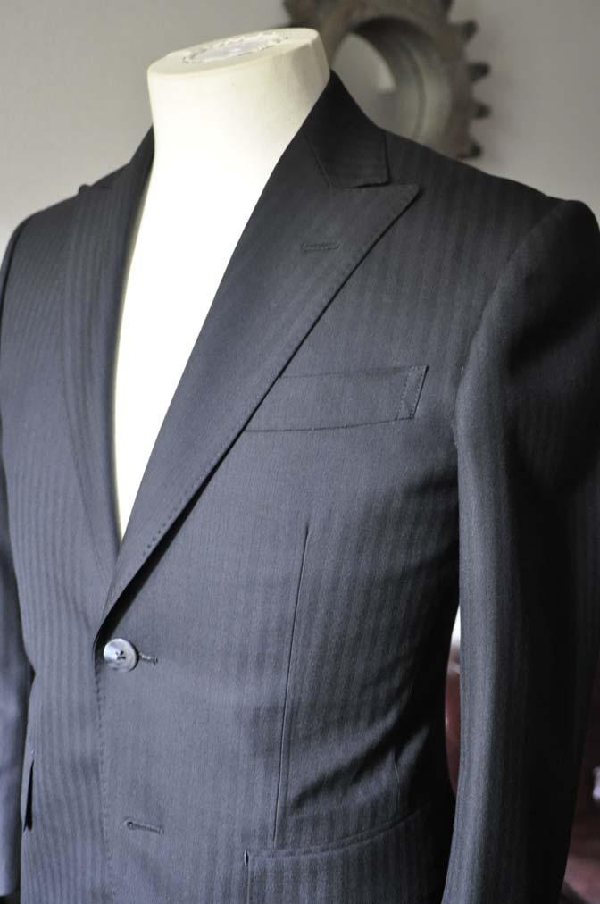 DSC0040-3 お客様のスーツの紹介-ブラックヘリンボーンスーツ- 名古屋の完全予約制オーダースーツ専門店DEFFERT
