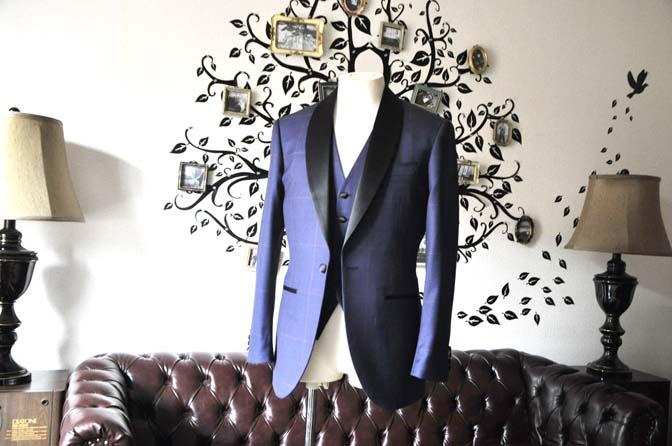 DSC0040-5 お客様のウエディング衣装の紹介- Biellesiネイビーグレンチェックタキシードジャケット/ベスト、ブラックパンツ-