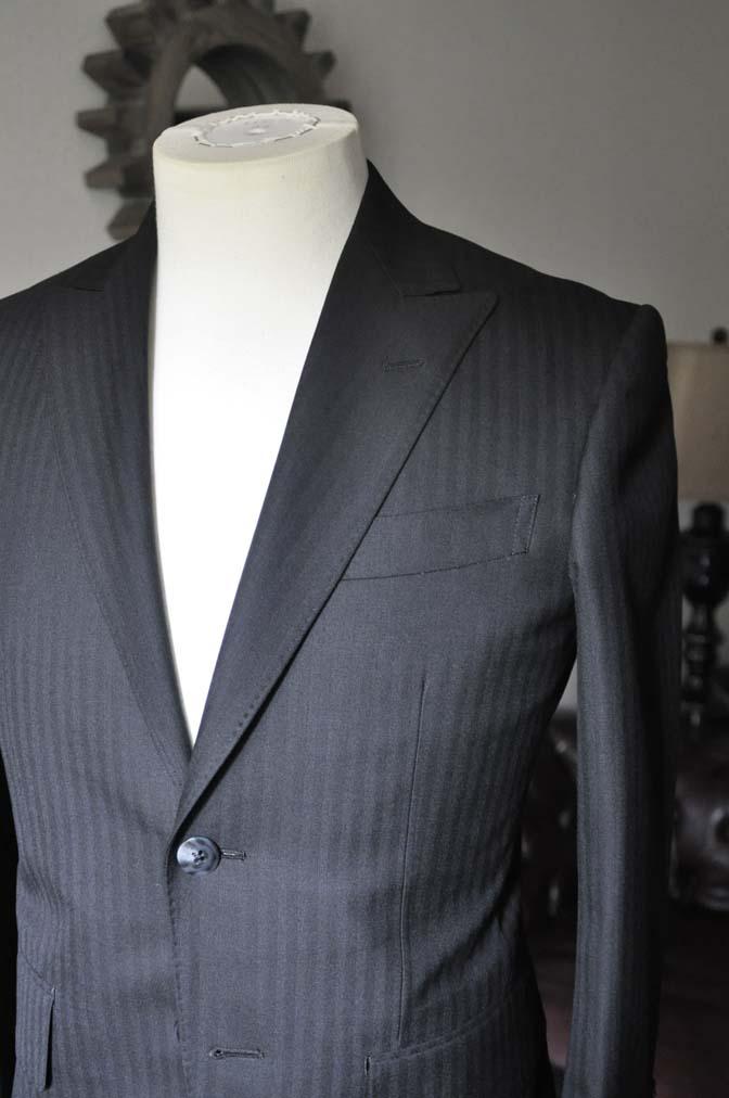 DSC0041-3 お客様のスーツの紹介-ブラックヘリンボーンスーツ- 名古屋の完全予約制オーダースーツ専門店DEFFERT
