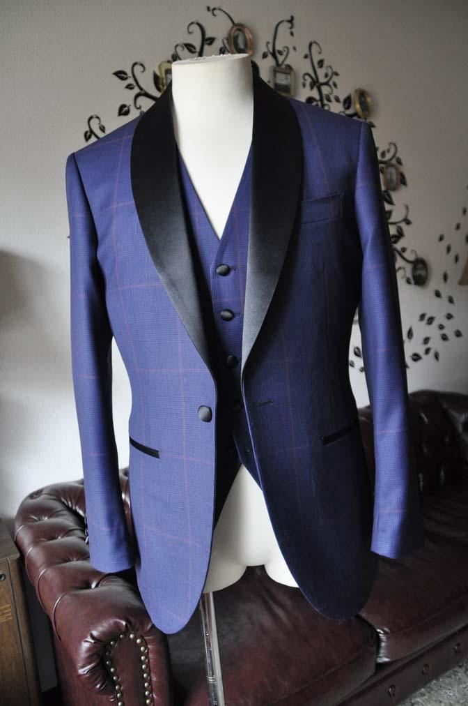 DSC0043-3 お客様のウエディング衣装の紹介- Biellesiネイビーグレンチェックタキシードジャケット/ベスト、ブラックパンツ-