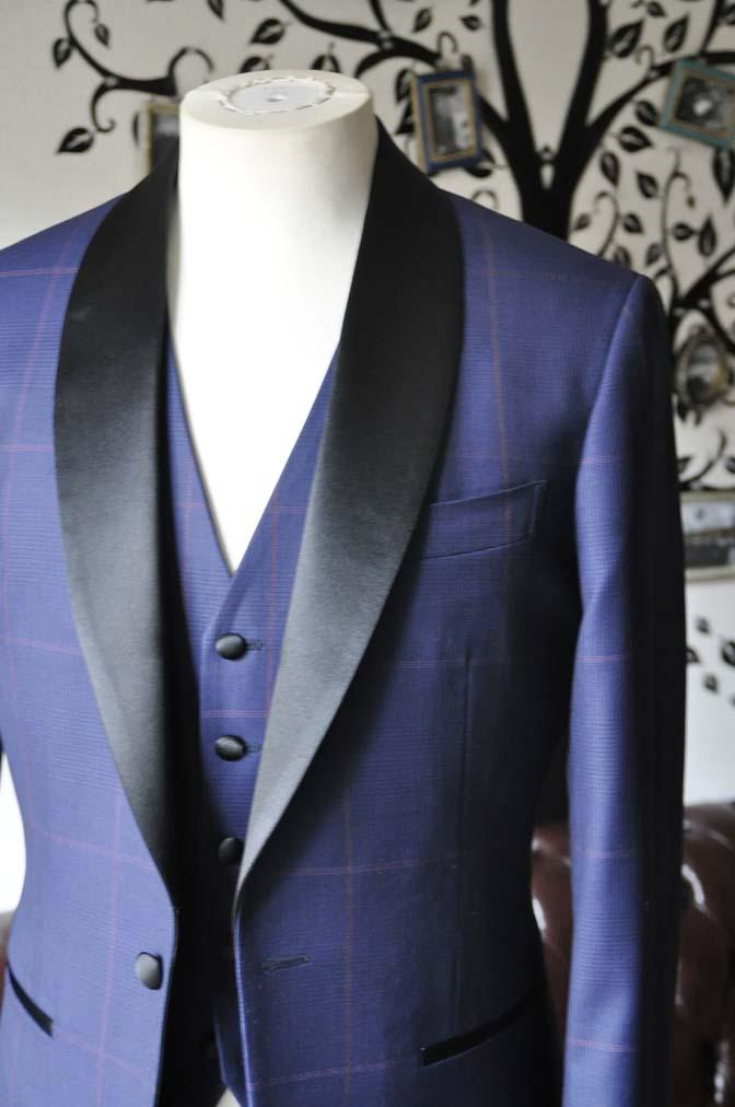 DSC0046-4 お客様のウエディング衣装の紹介- Biellesiネイビーグレンチェックタキシードジャケット/ベスト、ブラックパンツ-