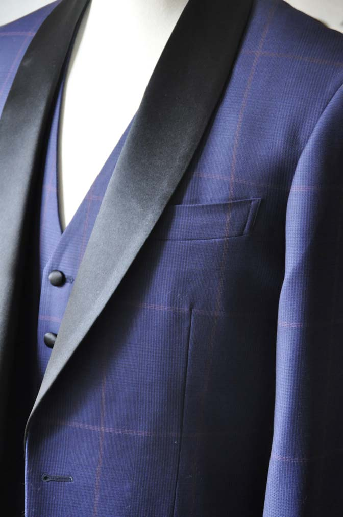 DSC0047-3 お客様のウエディング衣装の紹介- Biellesiネイビーグレンチェックタキシードジャケット/ベスト、ブラックパンツ-
