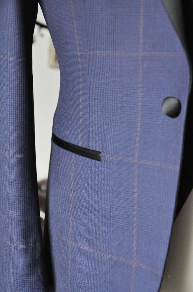 DSC0050-4 お客様のウエディング衣装の紹介- Biellesiネイビーグレンチェックタキシードジャケット/ベスト、ブラックパンツ-