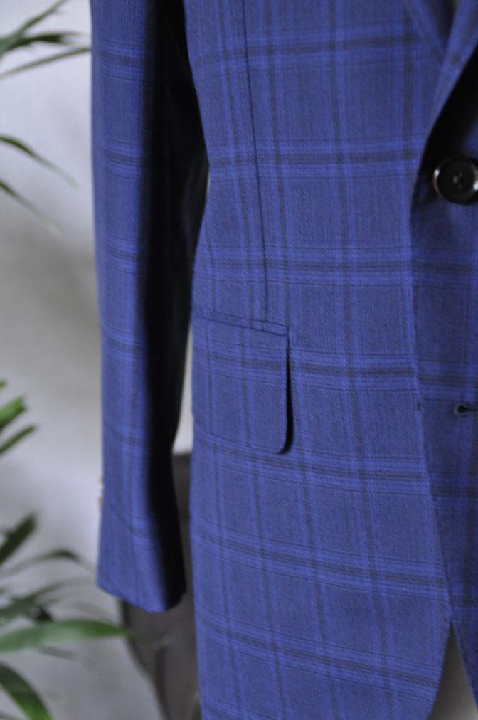 DSC00523 お客様のスーツの紹介-HOLLAND&SHERRY Cool Breezeネイビーチェックスーツ- 名古屋の完全予約制オーダースーツ専門店DEFFERT