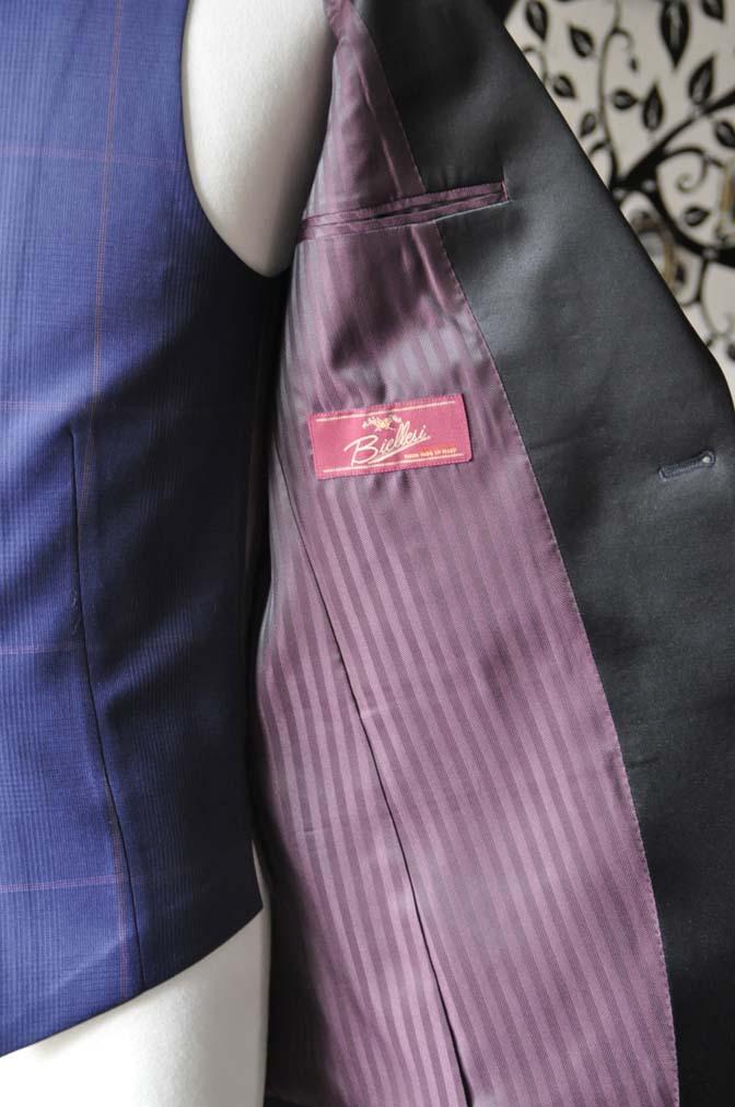 DSC0053-3 お客様のウエディング衣装の紹介- Biellesiネイビーグレンチェックタキシードジャケット/ベスト、ブラックパンツ-