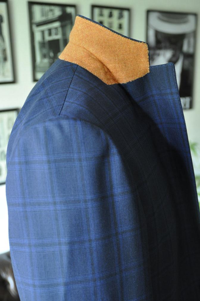 DSC00581 お客様のスーツの紹介-HOLLAND&SHERRY Cool Breezeネイビーチェックスーツ- 名古屋の完全予約制オーダースーツ専門店DEFFERT