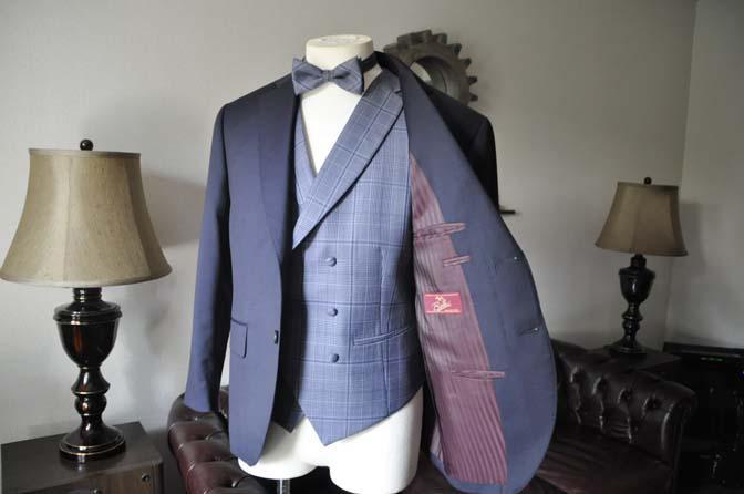 DSC0062-3 お客様のウエディング衣装の紹介-Biellesi ネイビースーツ ネイビーチェックベスト-