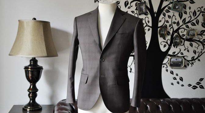 お客様のスーツの紹介-Biellesiブラウンチェックスーツ-