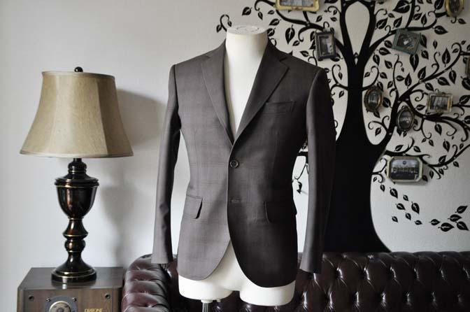 DSC0082-4 お客様のスーツの紹介-Biellesiブラウンチェックスーツ-
