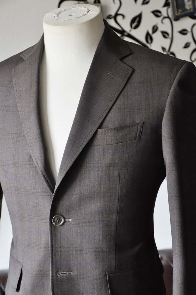 DSC0089-3 お客様のスーツの紹介-Biellesiブラウンチェックスーツ-