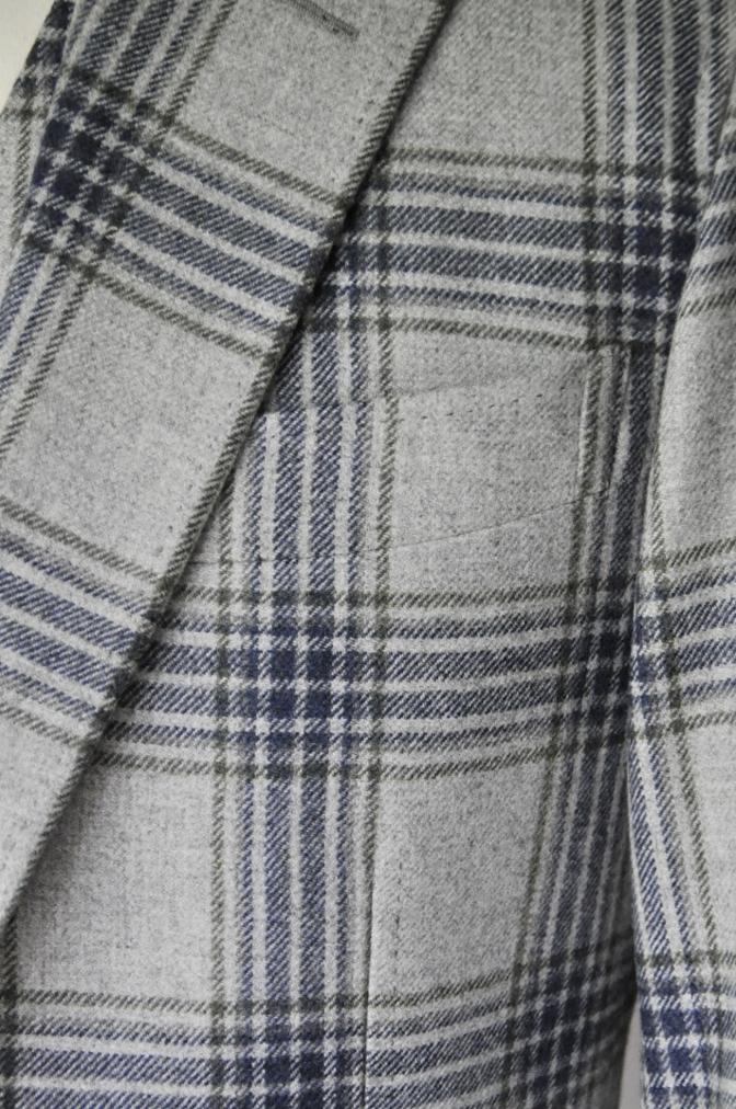DSC00971 お客様のスーツの紹介-TALLIA DI DELFINO グレーチェックフランネル スリーピース- 名古屋の完全予約制オーダースーツ専門店DEFFERT