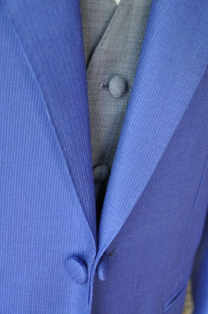 DSC0118 お客様のウエディング衣装の紹介- DORMEUIL  AMADEUSネイビーストライプスーツ グレーバーズアイベスト-