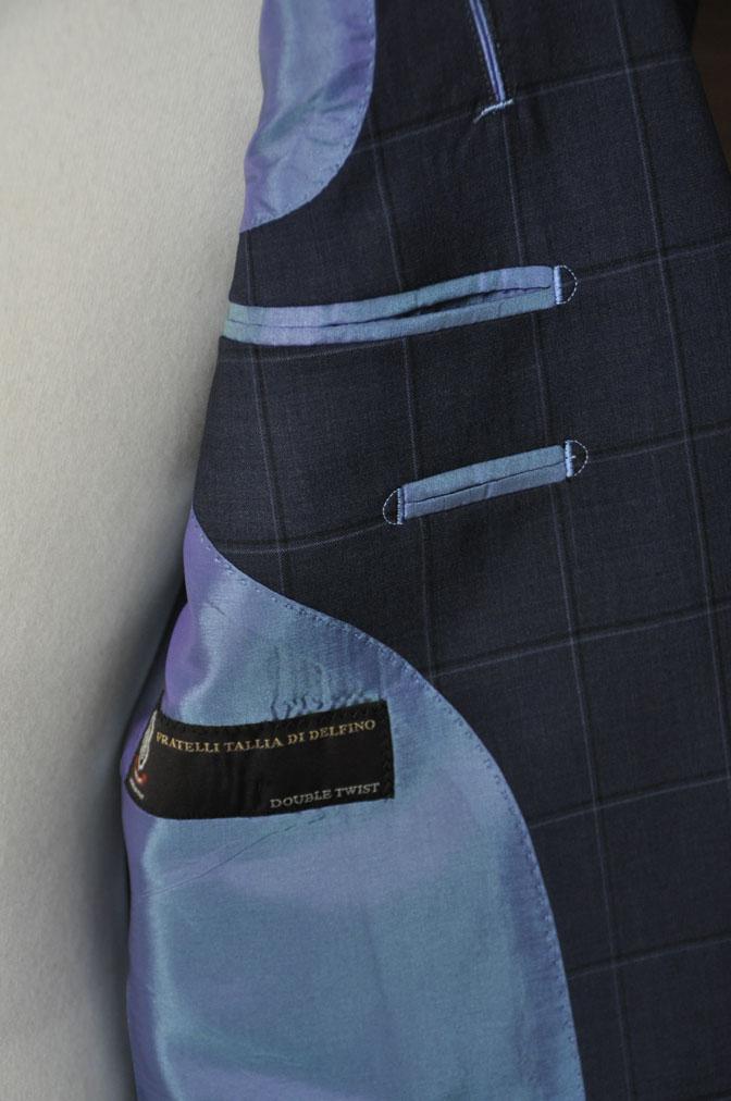 DSC01441 お客様のスーツの紹介-TALLIA DI DELFINO ネイビーウィンドペン -