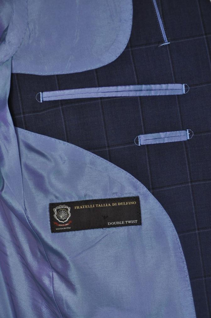 DSC01542 お客様のスーツの紹介-TALLIA DI DELFINO ネイビーウィンドペン -