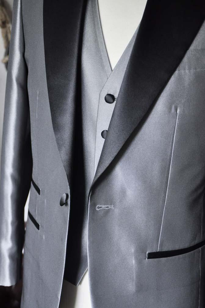 DSC0157-3 お客様の衣装の紹介- シルバーデザインタキシード スリーピース- 名古屋の完全予約制オーダースーツ専門店DEFFERT