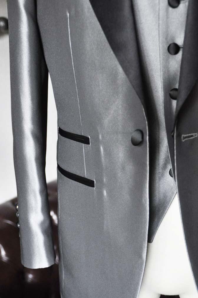 DSC0158-2 お客様の衣装の紹介- シルバーデザインタキシード スリーピース- 名古屋の完全予約制オーダースーツ専門店DEFFERT