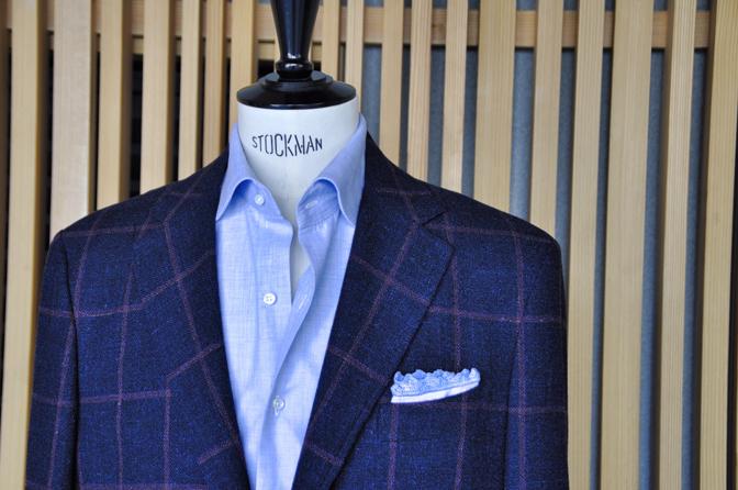 DSC0171 オーダージャケットの紹介-CANONICO ネイビーウィンドペン アンコンジャケット- 名古屋市西区那古野オーダースーツ専門店