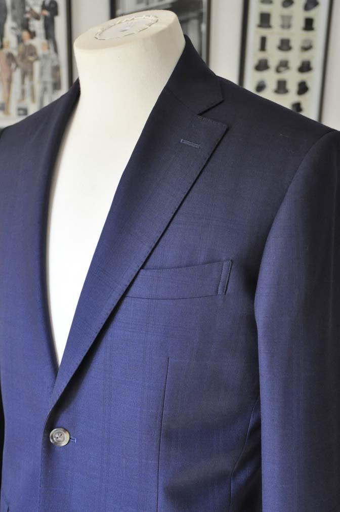 DSC01791 お客様のスーツの紹介- ネイビーチェックスーツ- 名古屋の完全予約制オーダースーツ専門店DEFFERT