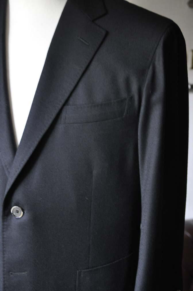 DSC0187-2 お客様のスーツの紹介- Biellesi 無地ブラックフランネルスーツ- 名古屋の完全予約制オーダースーツ専門店DEFFERT