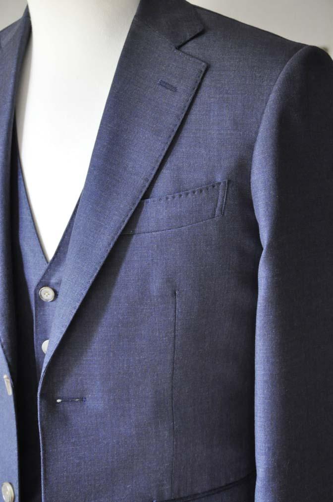 DSC0190-3 お客様のスーツの紹介- 御幸毛織 無地ネイビースリーピース-