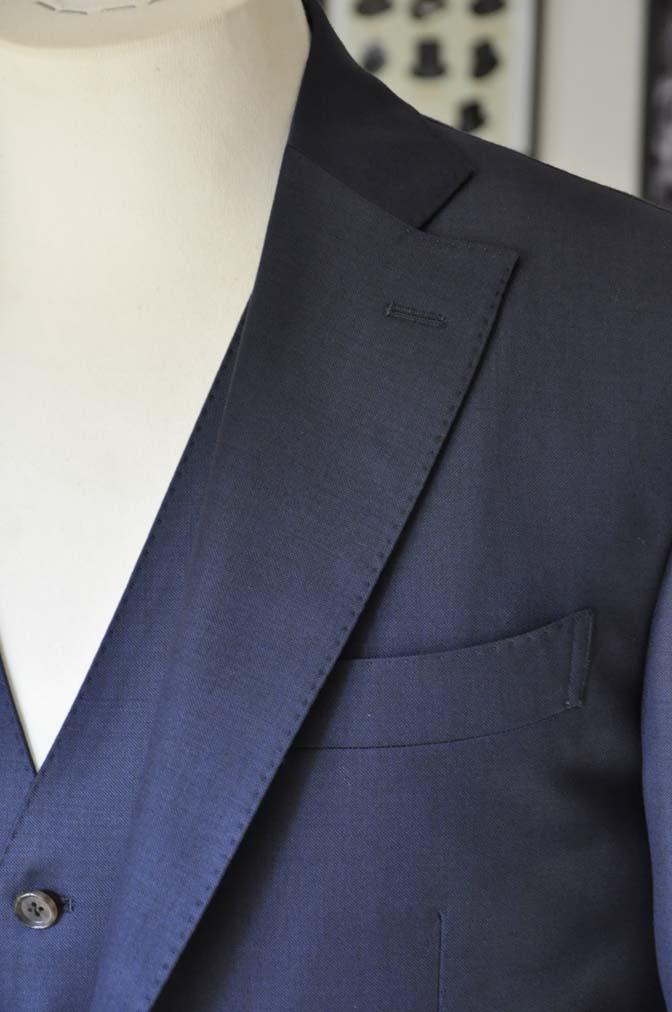 DSC0194-2 お客様のスーツの紹介- Canonico 無地ネイビースリーピース- 名古屋の完全予約制オーダースーツ専門店DEFFERT