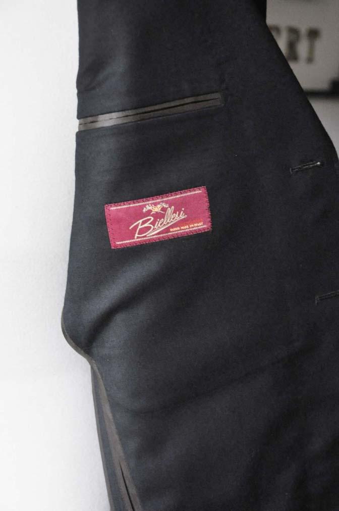 DSC0195-3 お客様のスーツの紹介- Biellesi 無地ブラックフランネルスーツ- 名古屋の完全予約制オーダースーツ専門店DEFFERT