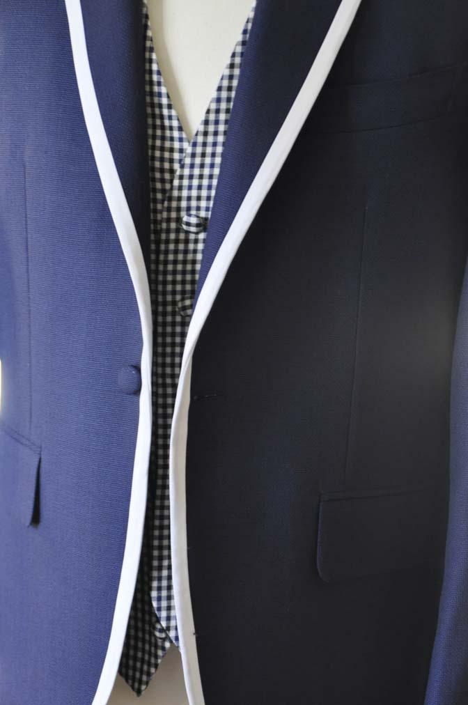 DSC0202-1 お客様のウエディング衣装の紹介- ネイビーパイピングジャケット、ギンガムチェックベスト- 名古屋の完全予約制オーダースーツ専門店DEFFERT