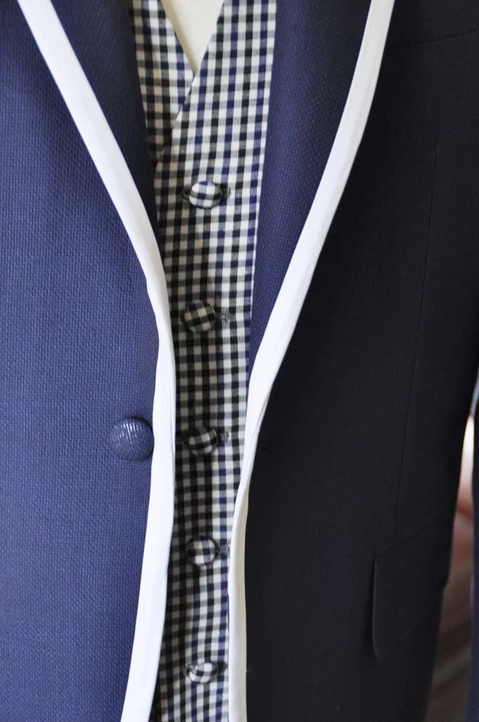 DSC0203-1 お客様のウエディング衣装の紹介- ネイビーパイピングジャケット、ギンガムチェックベスト- 名古屋の完全予約制オーダースーツ専門店DEFFERT