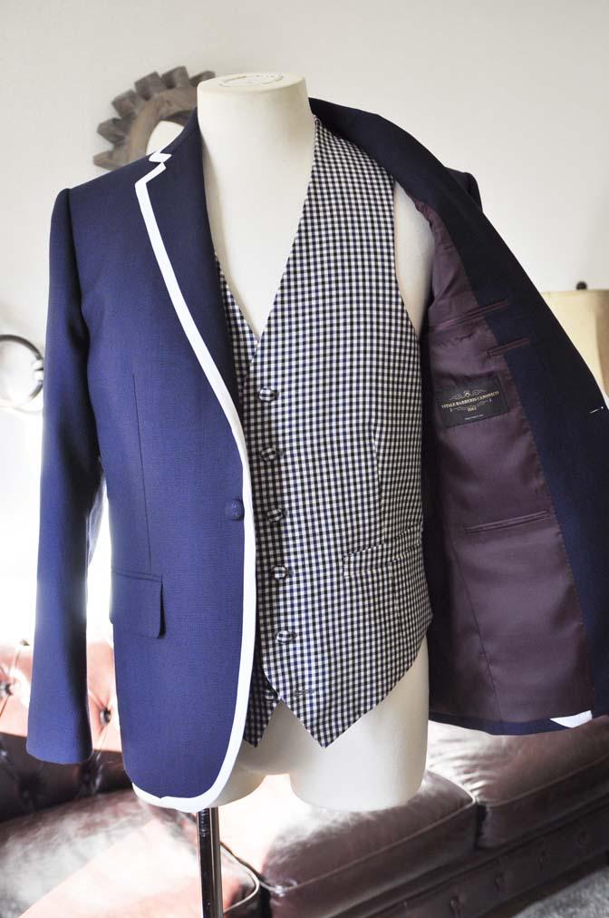 DSC0209-1 お客様のウエディング衣装の紹介- ネイビーパイピングジャケット、ギンガムチェックベスト- 名古屋の完全予約制オーダースーツ専門店DEFFERT