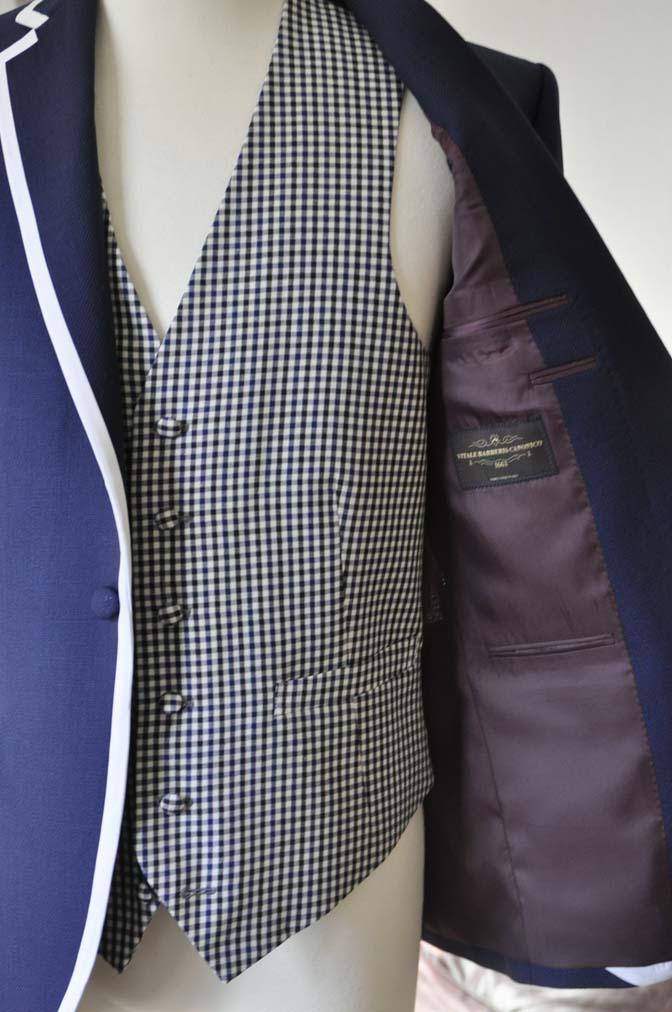 DSC0210-1 お客様のウエディング衣装の紹介- ネイビーパイピングジャケット、ギンガムチェックベスト- 名古屋の完全予約制オーダースーツ専門店DEFFERT