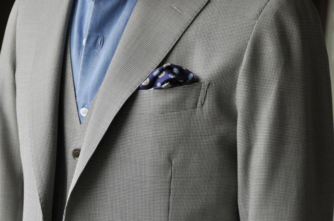 DSC0210-5 オーダージャケット・ベスト、パンツの紹介-Biellesiブラウン千鳥格子ジャケット・ベスト、ブラウンパンツ- 名古屋の完全予約制オーダースーツ専門店DEFFERT