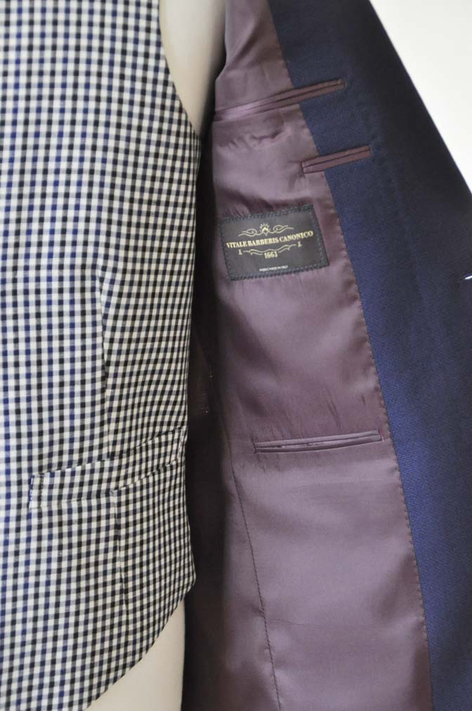 DSC0211-1 お客様のウエディング衣装の紹介- ネイビーパイピングジャケット、ギンガムチェックベスト- 名古屋の完全予約制オーダースーツ専門店DEFFERT
