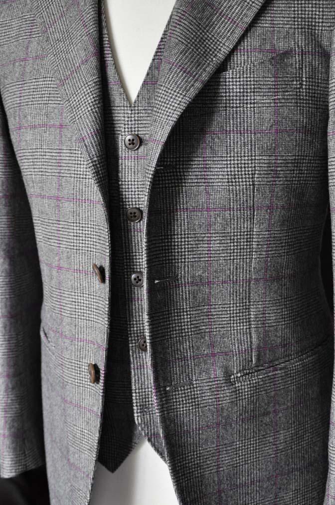 DSC0211-4 私のスーツの紹介-CARLO BARBERA クリームフランネル グレンチェックスリーピース-