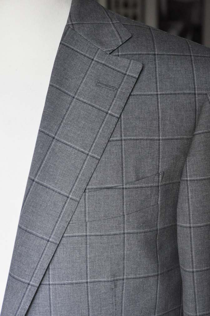 DSC02113 お客様のスーツの紹介-TALLIA DI DELFINO グレーウィンドペン-