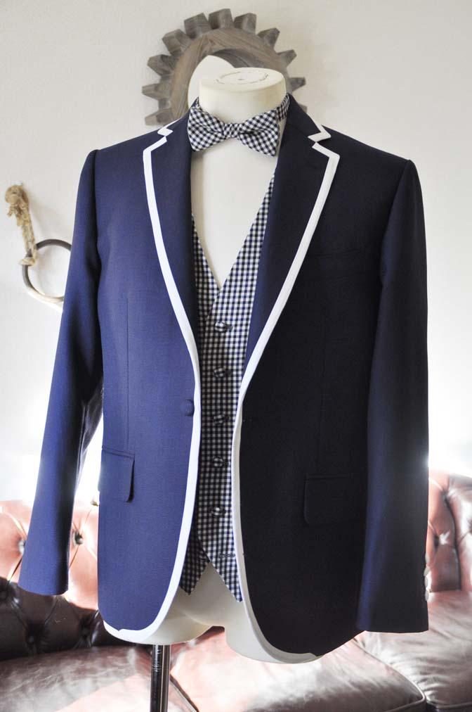 DSC0218-1 お客様のウエディング衣装の紹介- ネイビーパイピングジャケット、ギンガムチェックベスト- 名古屋の完全予約制オーダースーツ専門店DEFFERT
