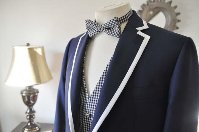 DSC0225-2 お客様のウエディング衣装の紹介- ネイビーパイピングジャケット、ギンガムチェックベスト- 名古屋の完全予約制オーダースーツ専門店DEFFERT