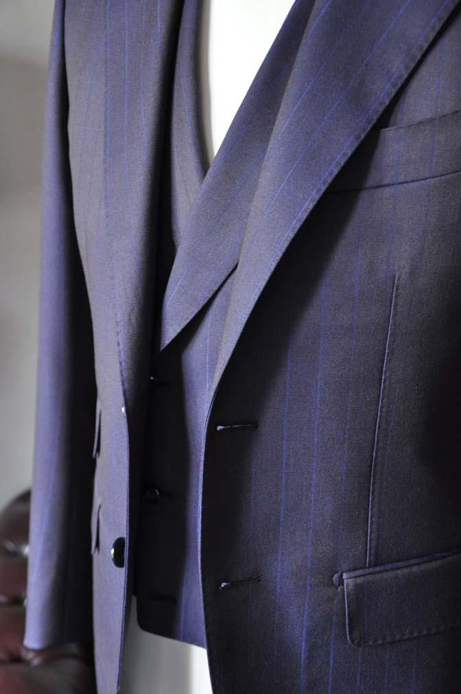 DSC0245-5 私のスーツの紹介-SCABAL TORNADO ネイビーブラウン ストライプ 襟付きダブルジレのスリーピース-