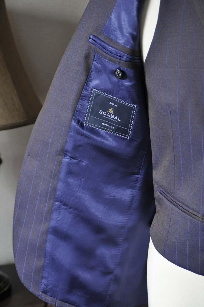 DSC0250-5 私のスーツの紹介-SCABAL TORNADO ネイビーブラウン ストライプ 襟付きダブルジレのスリーピース-