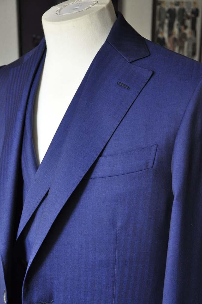 DSC02843 お客様のスーツの紹介-Biellesi ネイビーヘリンボーン スリーピース- 名古屋の完全予約制オーダースーツ専門店DEFFERT