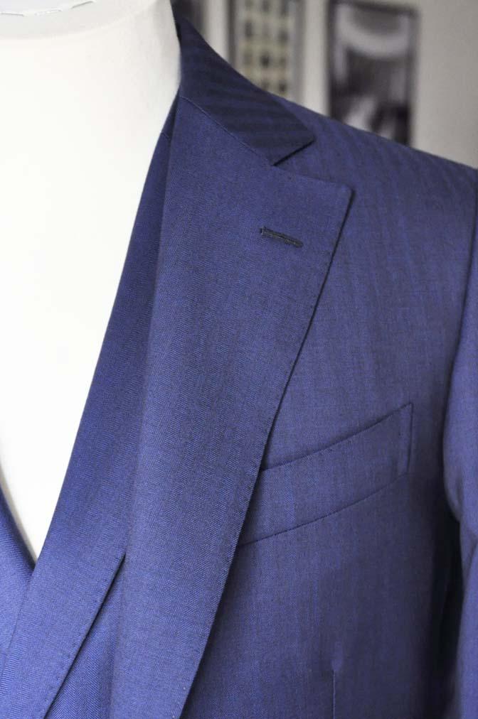 DSC0285 お客様のスーツの紹介-Biellesi ネイビーヘリンボーン スリーピース- 名古屋の完全予約制オーダースーツ専門店DEFFERT