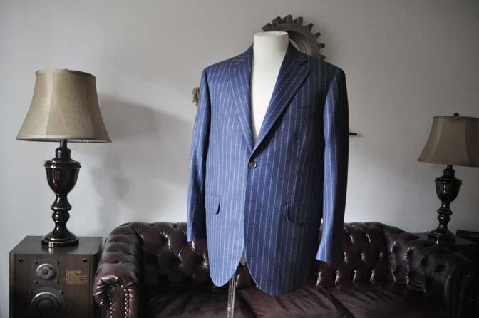 DSC0299-1 お客様のスーツの紹介- CANONICOネイビーフランネルストライプ スーツ- 名古屋の完全予約制オーダースーツ専門店DEFFERT