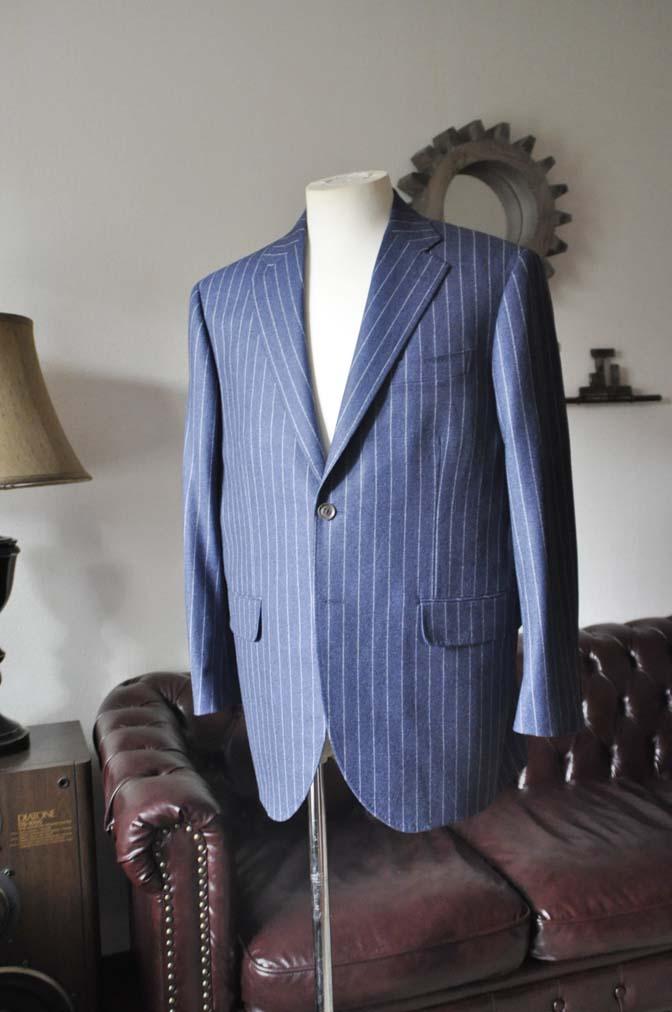 DSC0300-2 お客様のスーツの紹介- CANONICOネイビーフランネルストライプ スーツ- 名古屋の完全予約制オーダースーツ専門店DEFFERT