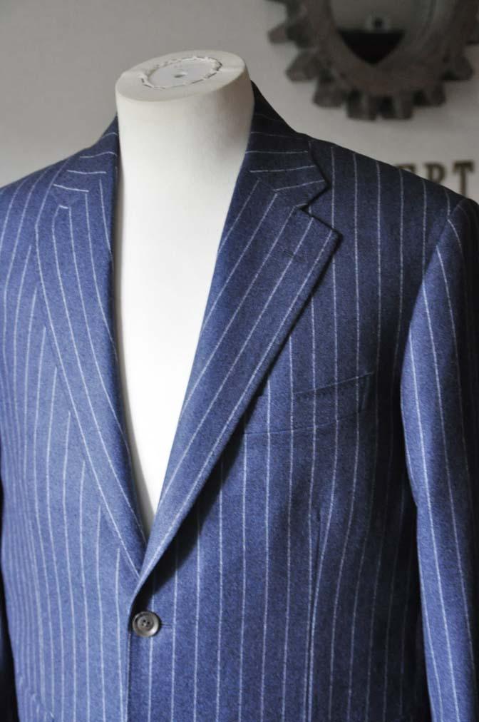 DSC0302-2 お客様のスーツの紹介- CANONICOネイビーフランネルストライプ スーツ-
